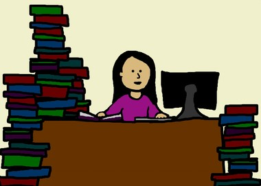 Woman-studying-cartoon